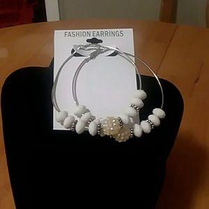 Cute white sparkle hoop earings